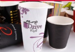 Recycled Custom Logo Printed Disposable Ripple Paper Coffee Cup With Lids