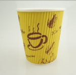 printed take away disposable ripple double hot drink paper cup for coffee